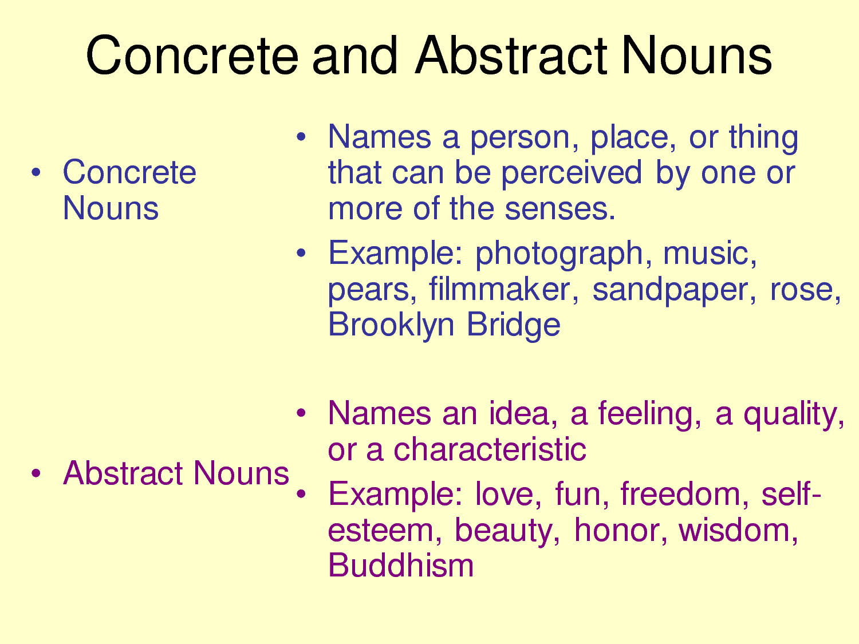 Pengertian dan Contoh Kalimat Abstract dan Concrete Noun