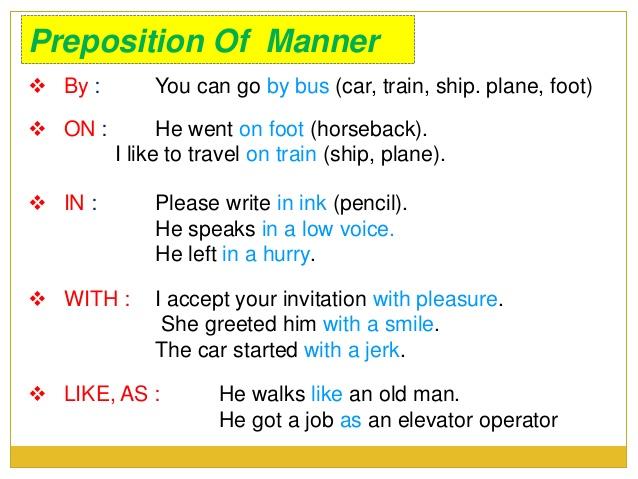 Pengertian dan Contoh Kalimat Preposition of Manner