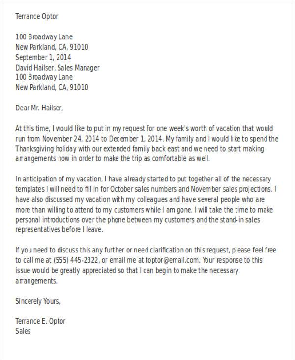 2 contoh surat cuti kerja dalam bahasa inggris